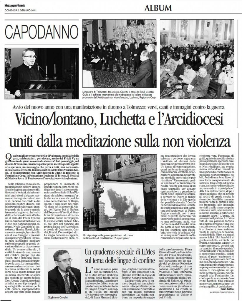 Il Messaggero Veneto 02/01/2011